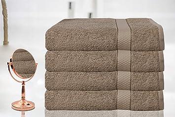 BellaCasa Casabella - Juego de 4 Toallas de baño (tamaño Grande, 100% algodón Egipcio Peinado), 100% algodón, Marrón Oscuro, 4 Bath Sheet: Amazon.es: Hogar