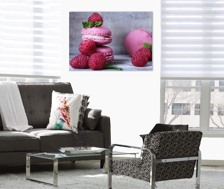 Leinwandbild 70x50cm Einteilig Topquadro Wandbild Baiser und Himbeeren Macaron Keilrahmenbild Kochen und Dessert Bild auf Leinwand Fr/ühst/ück