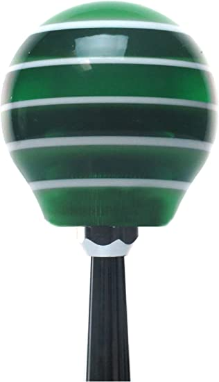Orange Transfer Case #5 American Shifter 127646 Green Stripe Shift Knob with M16 x 1.5 Insert