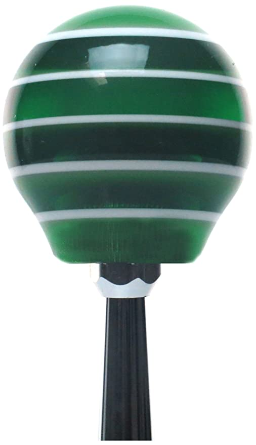 American Shifter 264573 Green Flame Metal Flake Shift Knob with M16 x 1.5 Insert Pink Dual Racing Flags
