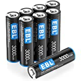 EBL 8 Pack 3000mAh 1.5V Lithium AA Batteries - High Performance Constant Volt for Digital Cameras, Remote Control, Toys (Non-