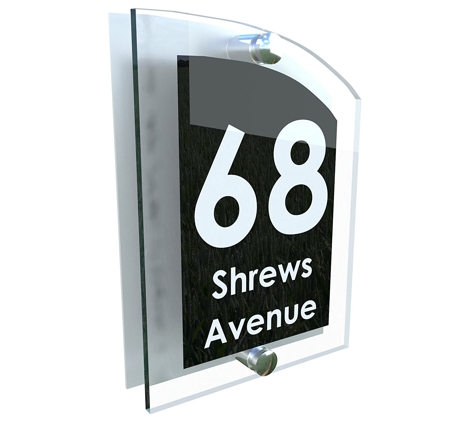 cd55835750ae MODERN HOUSE SIGN | UV PRINTED | Genuine Perspex | PLAQUE DOOR NUMBER STREET  GLASS EFFECT