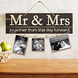 Nacaitang Wooden Hanging Photo Display Board Wall- Mr&Mrs Theme Sign Wall Board DIY Listing Note Clips Photo Collage with 4 Wood Clips for Bedroom Living Room Gallery (Mr&MRS-Brown)
