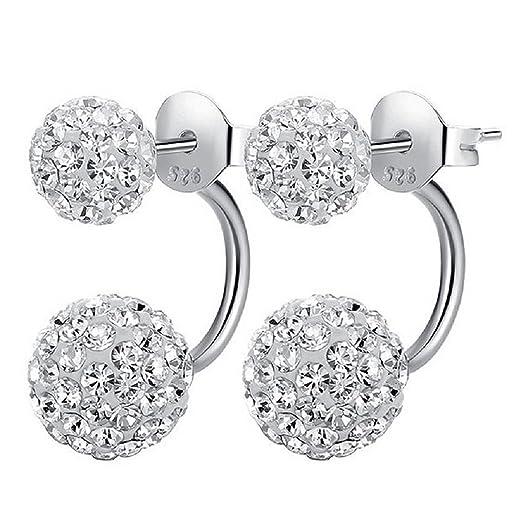 40 opinioni per 1 paio di orecchini di cristallo in 100% 925 argento Orecchino con 2 palle di
