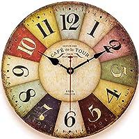 Retro Wooden Wall Clock Farmhouse Decor, Silent Non Ticking Wall Clocks Large Decorative - Quality Quartz Battery…