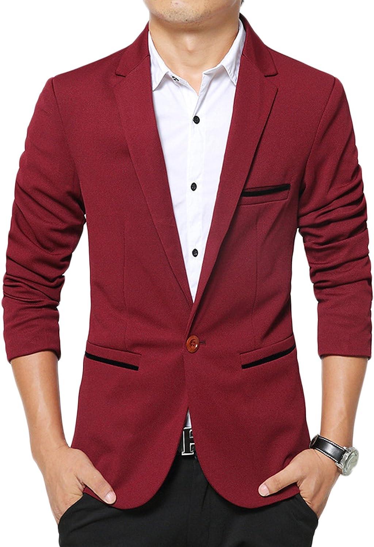 LEOCLOTHO Mens Casual Suit Jacket Slim Fit One Button Blazer Business Wedding