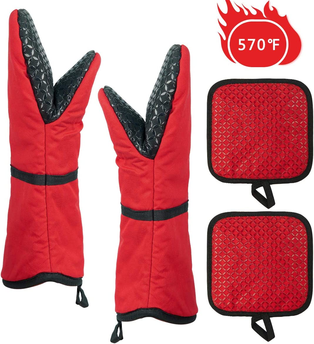 Oven Mitt and Pot Holders 4 Pcs, Oven Mitts Silicone Heat Resistant to 570℉, Kitchen Mittens and Pot Holder Set, Non-Slip Oven Gloves with Cotton Lining for BBQ Cooking Baking, Red