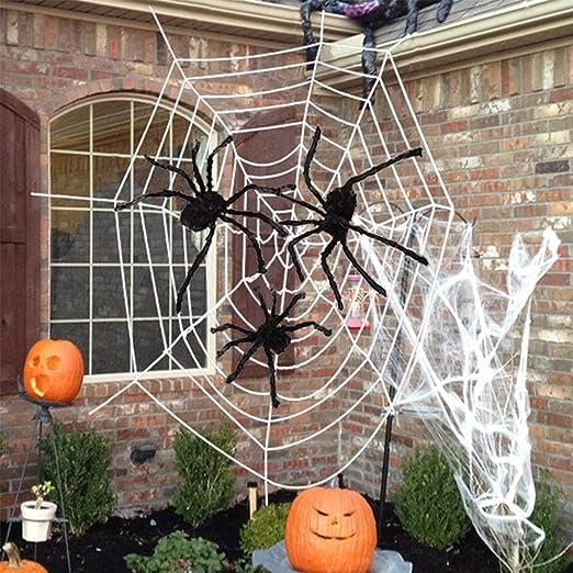 Anisqui 3 5 M Riesen Halloween Spinnennetz Dekoration Drei Riesen Halloween Spinnem 40g Dehnbares Halloween Spinnennetz Fur Halloween Dekorationen Indoor Und Outdoor Amazon De Kuche Haushalt