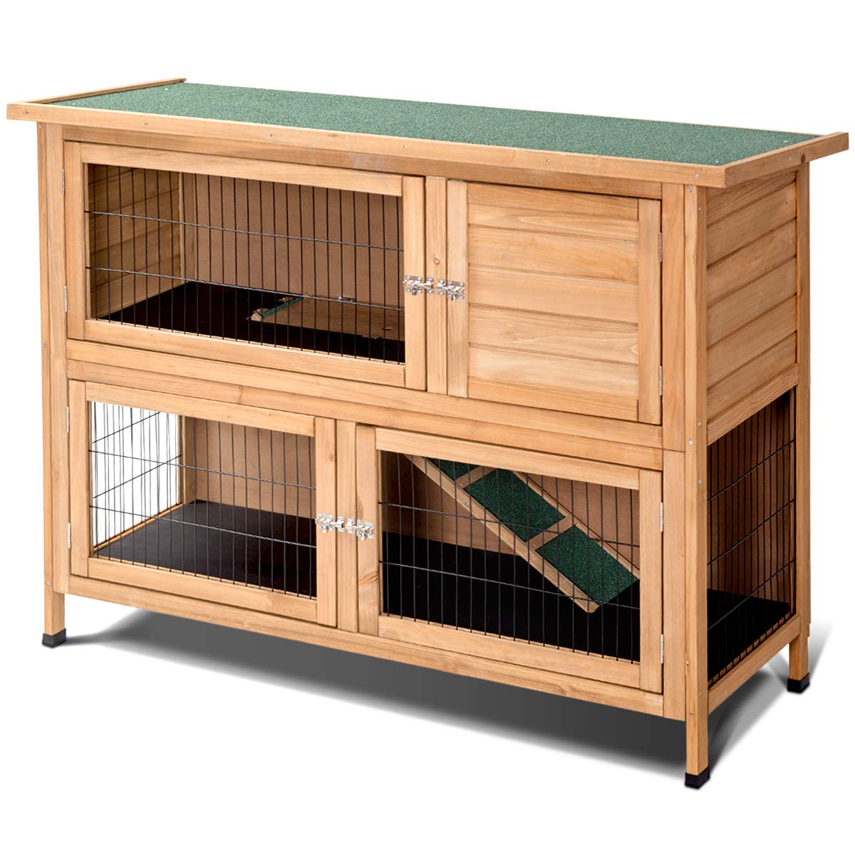 Tangkula 52'' Rabbit Hutch, Outdoor Garden Backyard Poultry House, Wooden Hen House/Wood Chicken Coop, Bunny Rabbit Hutch (Double-Layered) by Tangkula