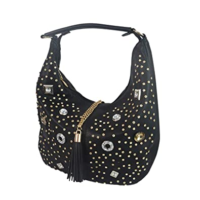 Amazon.com  Aisunne handle satchel Handbags Tote Purse shoulder bag With  Rivets and Rhinestone For Women Ladies Leather Purse bags (Black)  Shoes 6bf225917499e