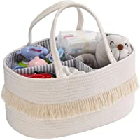 Baby Rope Diaper Caddy Organizer - Nursery Storage Bin Canvas Portable Diaper Storage Basket with Removable Inserts for…