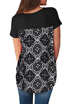 a56a4466f HOTAPEI Tshirt Womens Tops Summer Casual Cute Contrast Color Block Printed Criss  Cross Short Sleeve Tunics