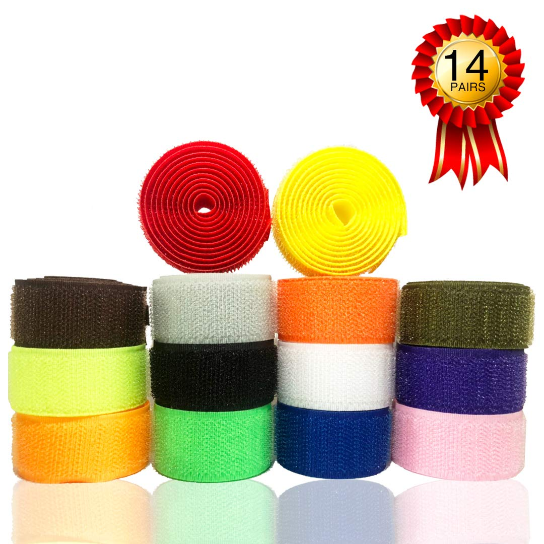 Hook and Loop Fabric Fastener Tape - Nylon Fabric Clothing Sewing Fabric with Non-Adhesive Supplies 1 inch Wide, Pack of 14 Colors by LIVCOLLECTION by LIVCOLLECTION