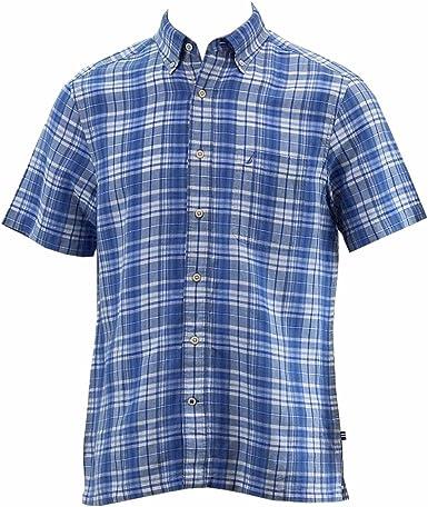 Nautica Camisa de manga corta de manga corta para hombre - Azul - Large: Amazon.es: Ropa y accesorios