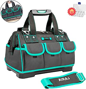AIRAJ 16 in Multi-functional Tool Bag with Adjustable Shoulder Strap, ABS Plastic Waterproof Bottom Suitable for Electrician, Woodworking Large Capacity Tool Totes (Green & Black)