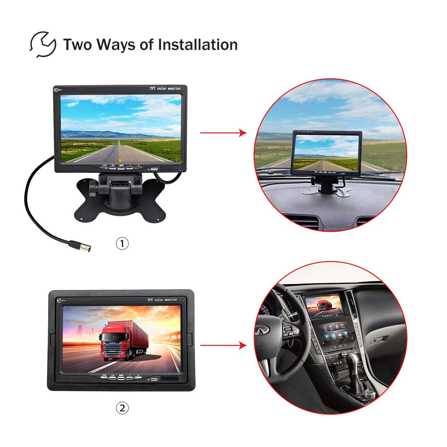 Esky 7 Inch Tft Lcd Color 2 Video Input Car Rear View Wireless Pillow Monitor Wiring Diagram Dvd Vcr With Remote And Stand Cell Phones Accessories