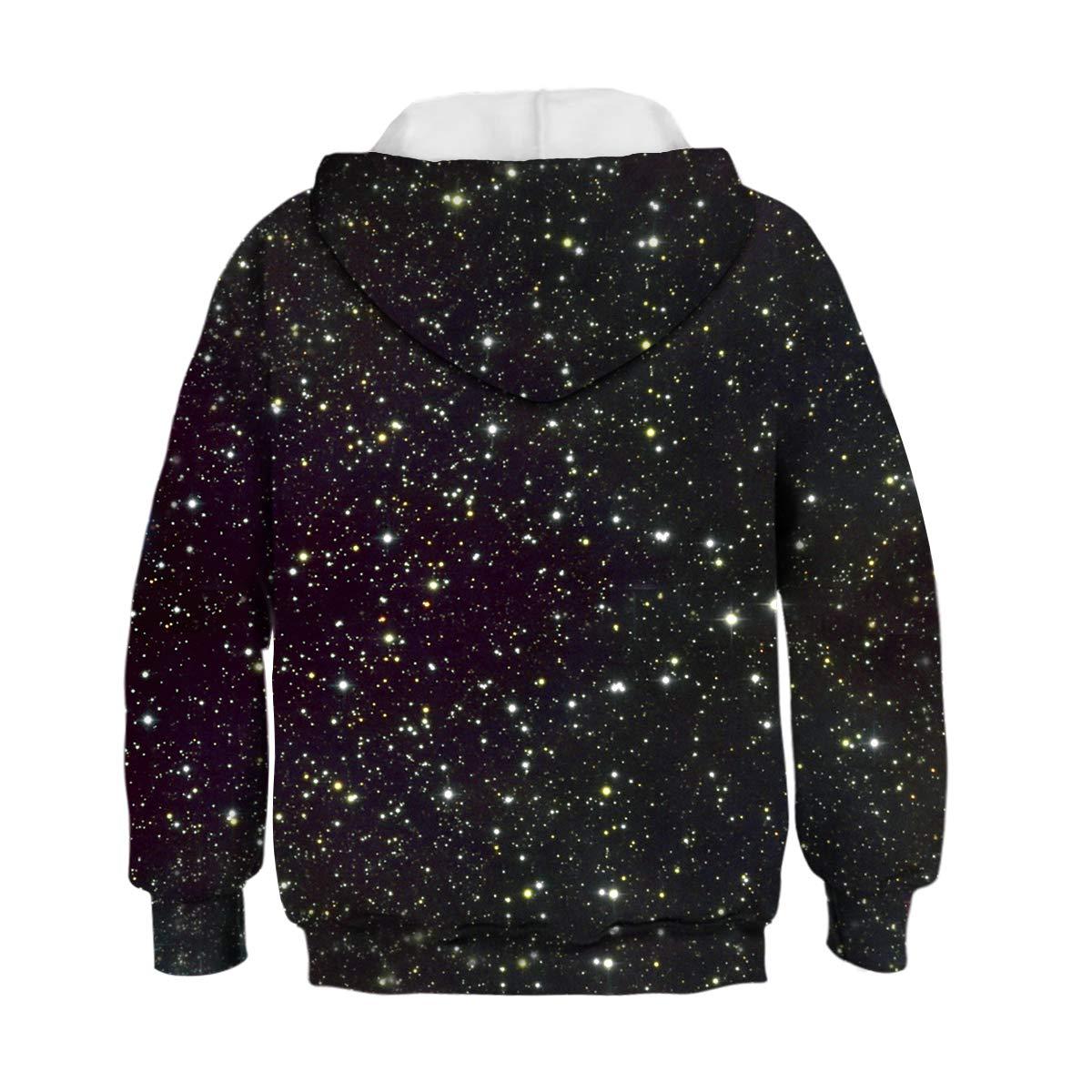 Pattrily Kids Boy Girl 3D Galaxy Animal Print Pullover Hoodies Sweatshirts Fit 6-13 Years