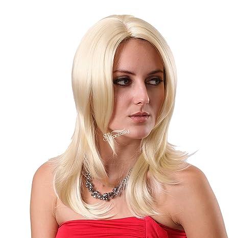 STfantasy pelucas rubio mujer Longitud media largo ondulado onda rizado Halloween Cosplay Partido Disfraz Fiesta