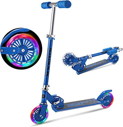 Kick Scooter with LED Light Up Wheels Ride Sports for Toddler Kids Gift 2 Wheels