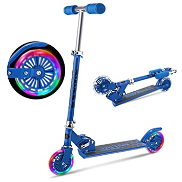 Amazon.com: YUEBO Kick Scooter para niños con ruedas LED de ...