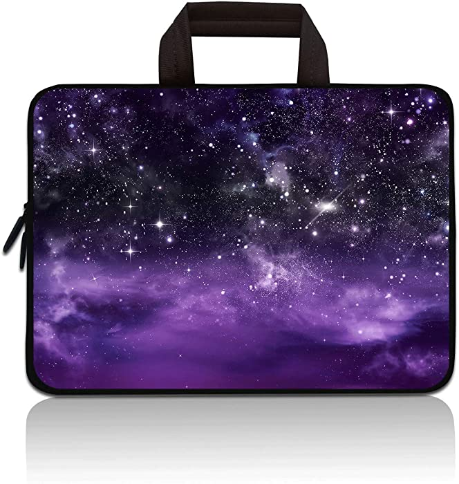 14 15 15.4 15.6 inch Laptop Handle Bag Computer Protect Case Pouch Holder Notebook Sleeve Neoprene Cover Soft Carrying Travel Case For Dell Lenovo Toshiba HP Chromebook ASUS Acer (Purple Galaxy)