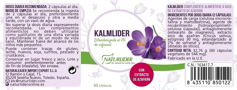 Naturlíder Kalmlider Extracto de Azafran estandarizado al 2%- 60 Cápsulas: Amazon.es: Salud y cuidado personal