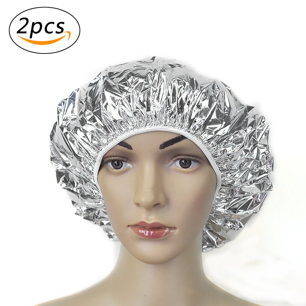 Aluminum Foil Hair Cap Portable Disposable Waterproof Spa Hair Salon Shower Cap Baking Oil Hair Cap Ultra-thin Nourishing Dry Bath Hat Hair Care Protector (2pcs) Suces