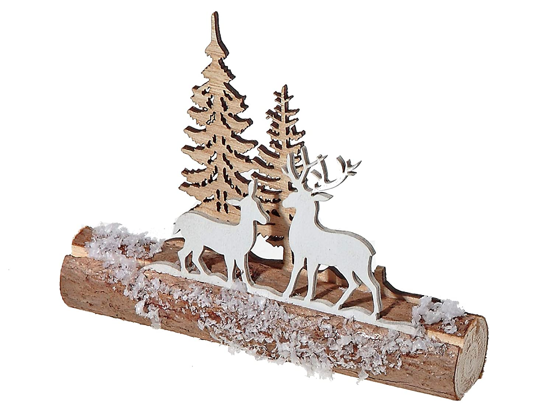 15x4 Natural ih Casa D/écor Scenic Log Stand 2 Sizes Reindeer