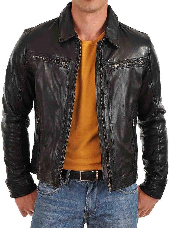 brandMe Mens Genuine Leather Pure Lambskin Biker Jacket MM440