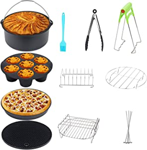 11 Pcs XL Air Fryer Accessories 8 Inch for Philips,Gowise,Cozyna Air Fryer, Compliant Fit All 3.7-5.8QT,Nonstick Coating,BPA Free,Universal