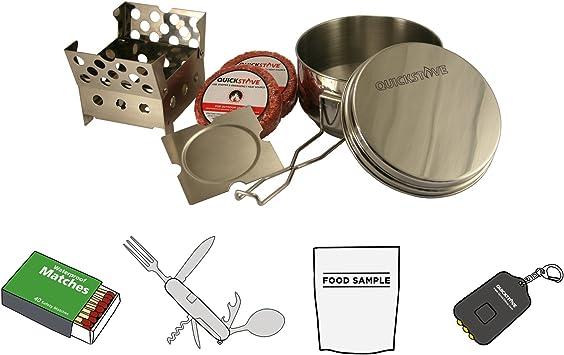 QuickStove Kit de Cocina portátil para Campamento de Emergencia. Estufa multicombustible, Olla de Acero Inoxidable, Combustible y Alimentos Kits de ...
