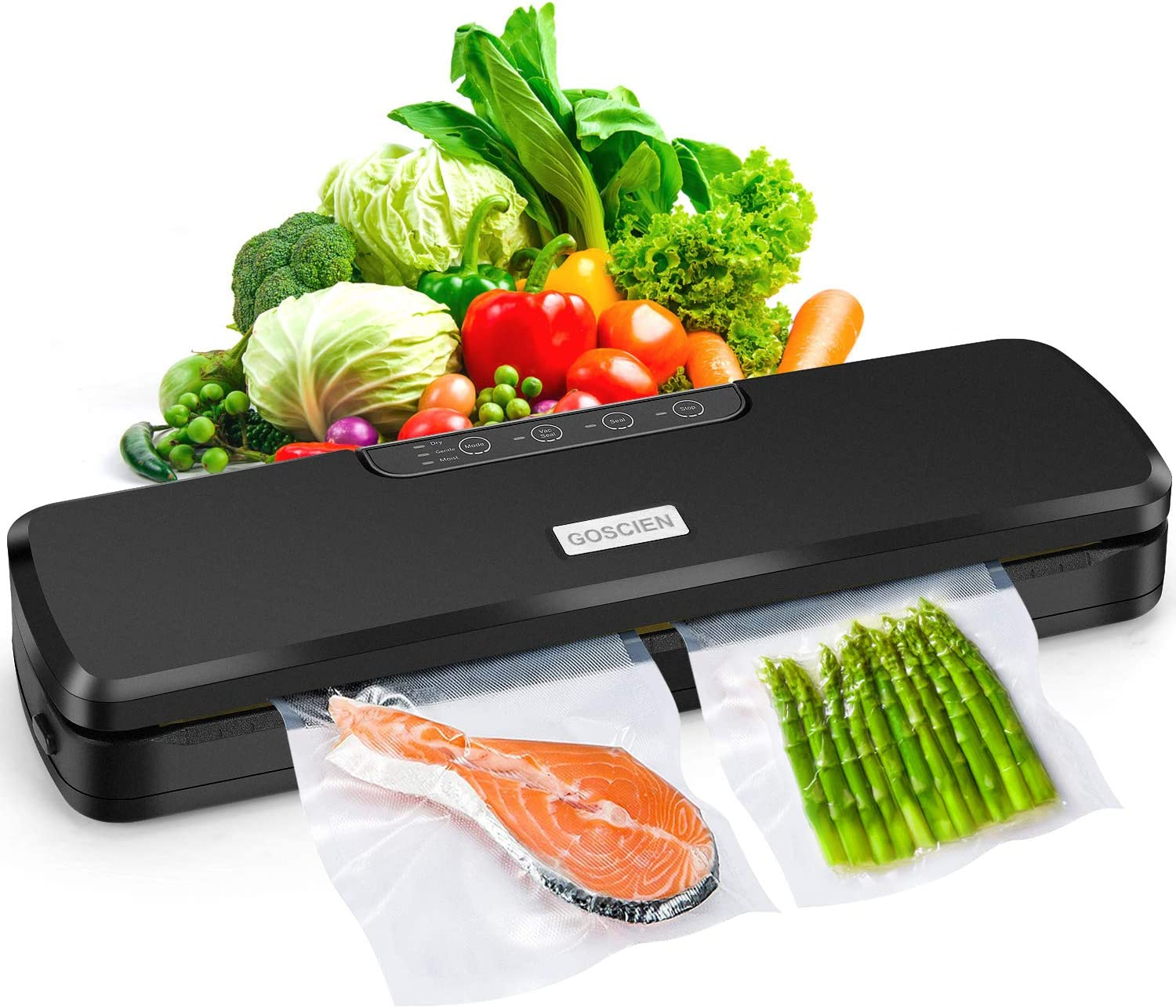 GOSCIEN Vacuum Sealer, Automatic Food Sealer for Food Savers, Dry & Moist Food Modes, Led Indicator Lights, Built-in Cutter, Starter Kit with 10 PCS Vacuum Bags