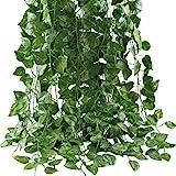 Artificial Ivy Leaf Plants Vine, 12 Strands 87 Feet Artificial Garlands Fake Foliage Flowers Hanging Vine for Home…