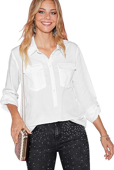Blusa Lisa Botones de nácar Mujer by Vencastyle - 015801: Amazon.es: Ropa y accesorios