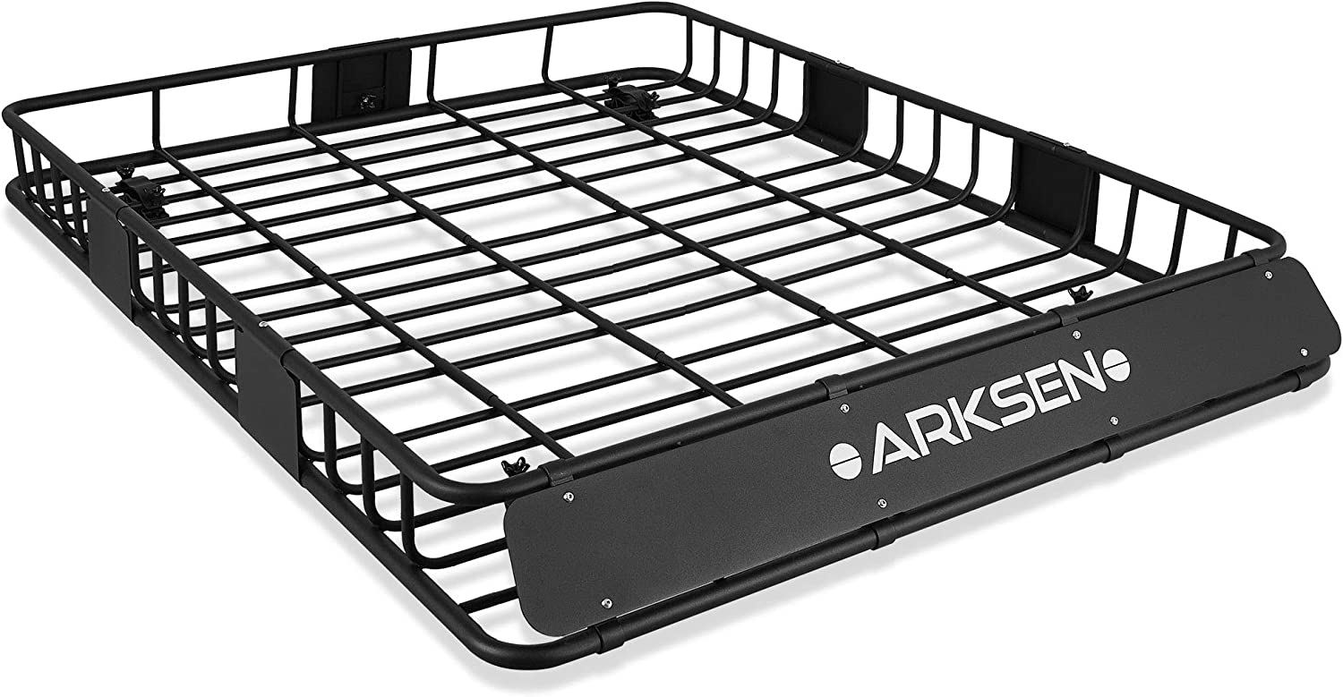"""ARKSEN 8"""" x 8"""" x 8"""" Perfect-Wide Roof Rack Cargo Basket - 18 lb.  Capacity Full-Size SUV Heavy Duty Roof Top Luggage Carrier, Black"""
