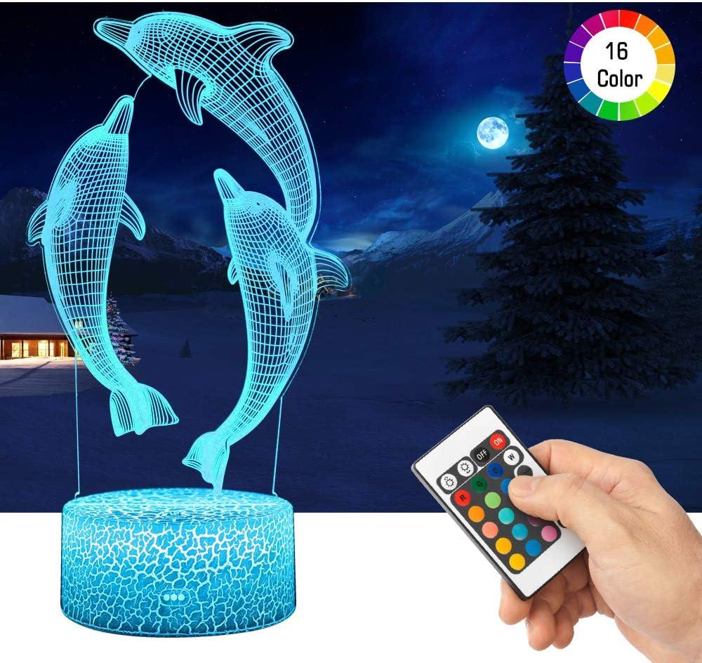 LED Lámpara de Mesa 3D Delfines con Control Remoto Sensor Tacto, QiLiTd Regulable Lámpara de Noche de Atmósfera Modo RGB, Decoracion Cumpleaños, Navidad Regalos de Mujer Bebes Hombre Niños Amigas