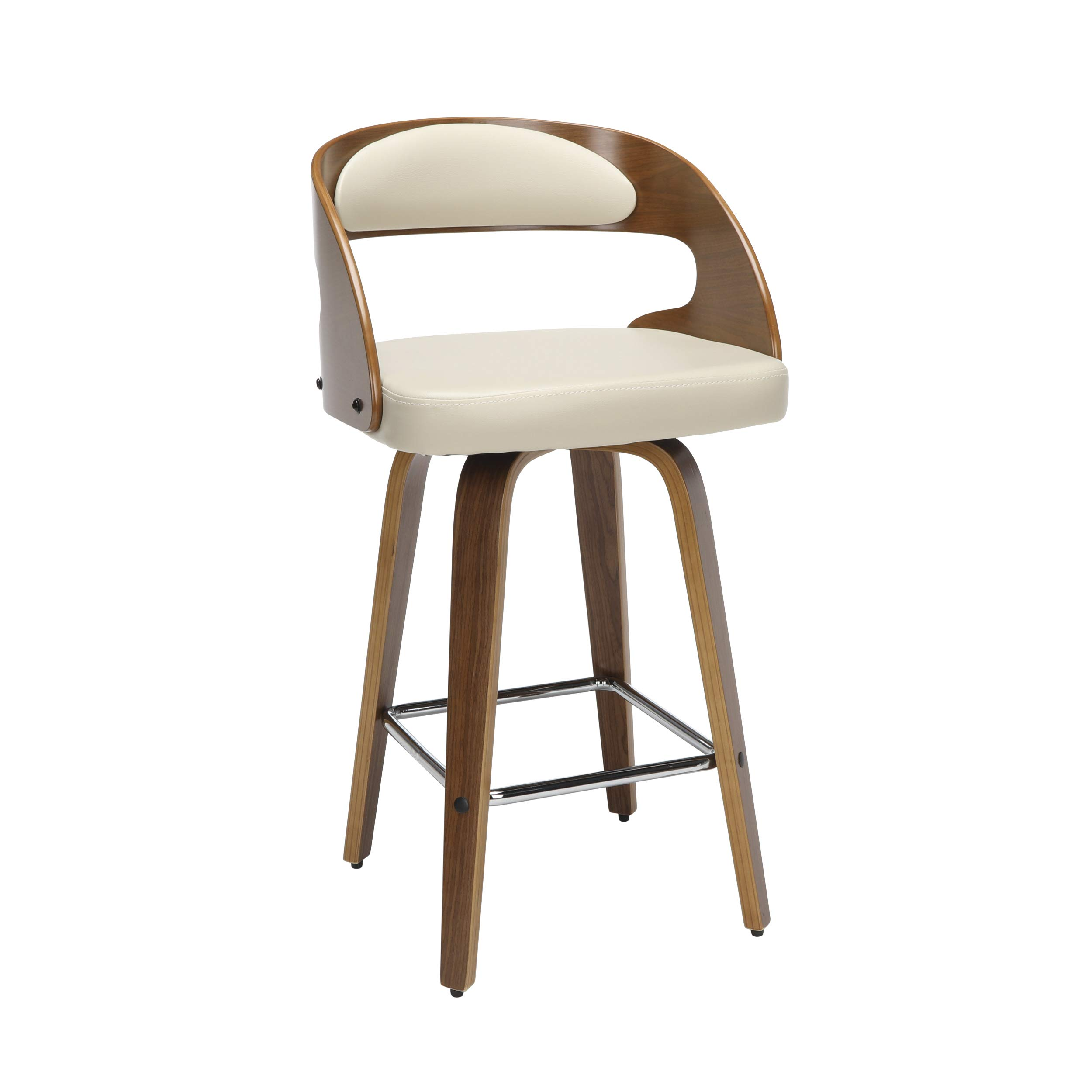 OFM 161 Collection Mid Century Modern 26'' Bentwood Frame Swivel Seat Stool with Vinyl Back and Seat Cushion, in Walnut/Ivory by OFM