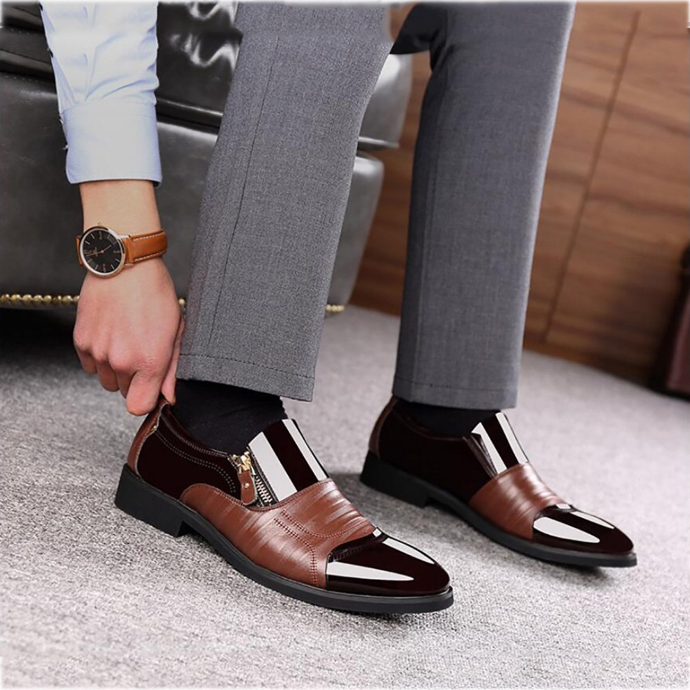 Mens Formal Shoes,2018 New Mens Business Dress Casual Shoes Fashion Shiny Leather Pointed Mens Shoes Set Foot,Brown,42