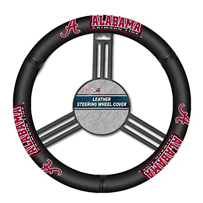 Fremont Die NCAA Alabama Crimson Tide Leather Steering Wheel Cover, Fits Most Steering Wheels, Black/Team Colors: Sports & Outdoors