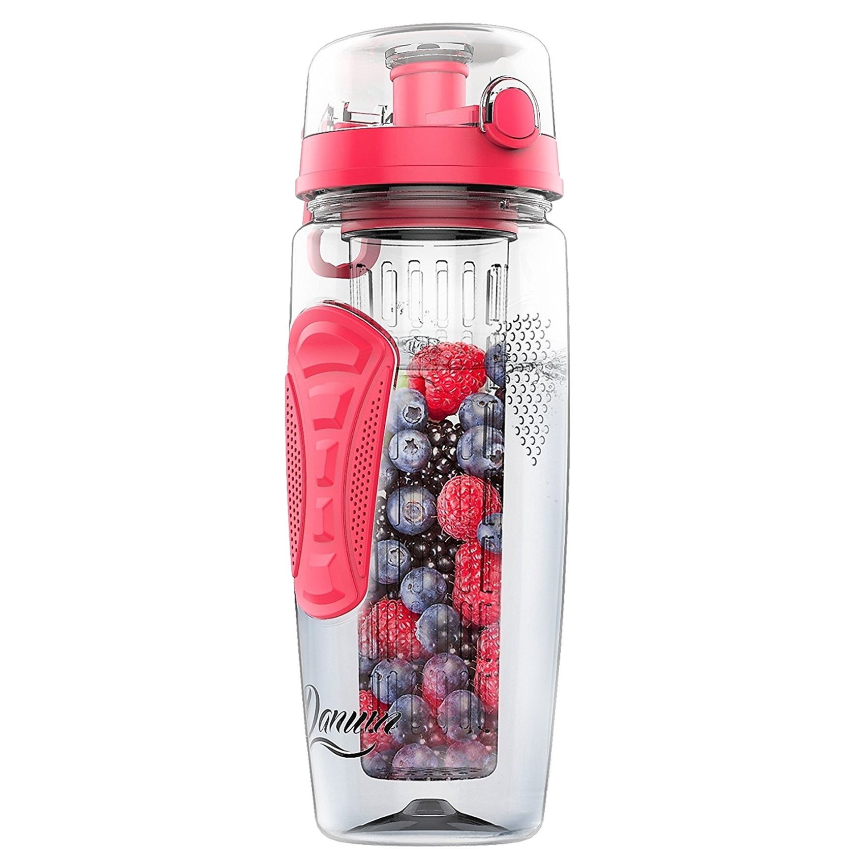 Danum Large 32oz Fruit Infuser Water Bottle by New Full Length Infusion Basket, Leak-proof, Flip-Top, Dual Hand Grips, made of BPA-Free Eastman Tritan with Multiple Color Options & Free Recipe Ebook