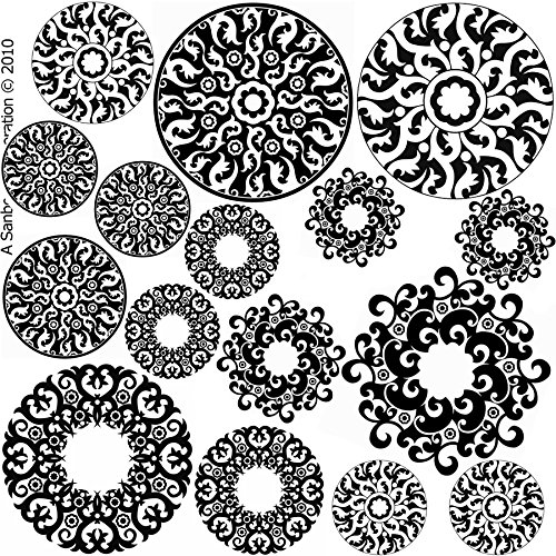 Fusible Decal - Pendant Circles Abstract Designs Black Enamel Fusible Decal