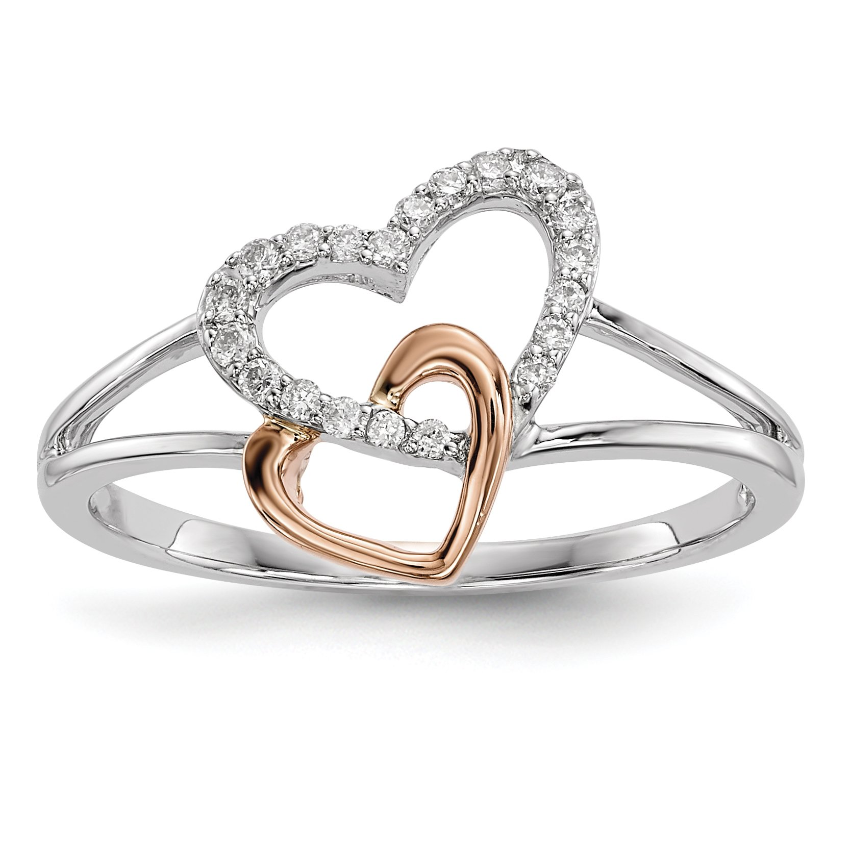 ICE CARATS 14k White/rose Gold Diamond Band Ring Size 6.75 Fine Jewelry Gift Set For Women Heart