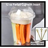 Pack of 25 Clear Plastic Parfait Cup 12 oz with Insert and Dome Lid w/ Signature Party Picks
