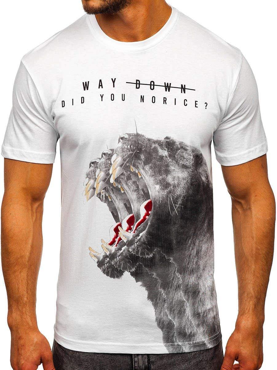 BOLF Hombre Camiseta de Manga Corta Escote Redondo Estampada Crew Neck Entrenamiento Deporte Estilo Diario 181519 Blanco S [3C3]: Amazon.es: Ropa y accesorios