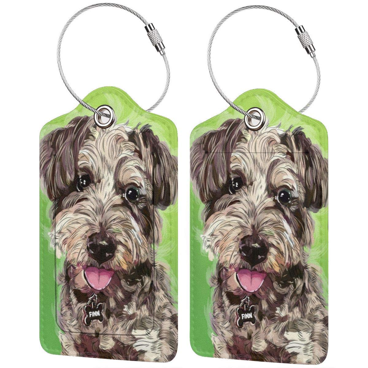 Luggage Tags PU Leather Suitcase Card Tag With Stainless Steel Loop Travel Baggage Handbag Tag Labels Travel Accessories Cute Funny Dog Pet Teddy set of 4