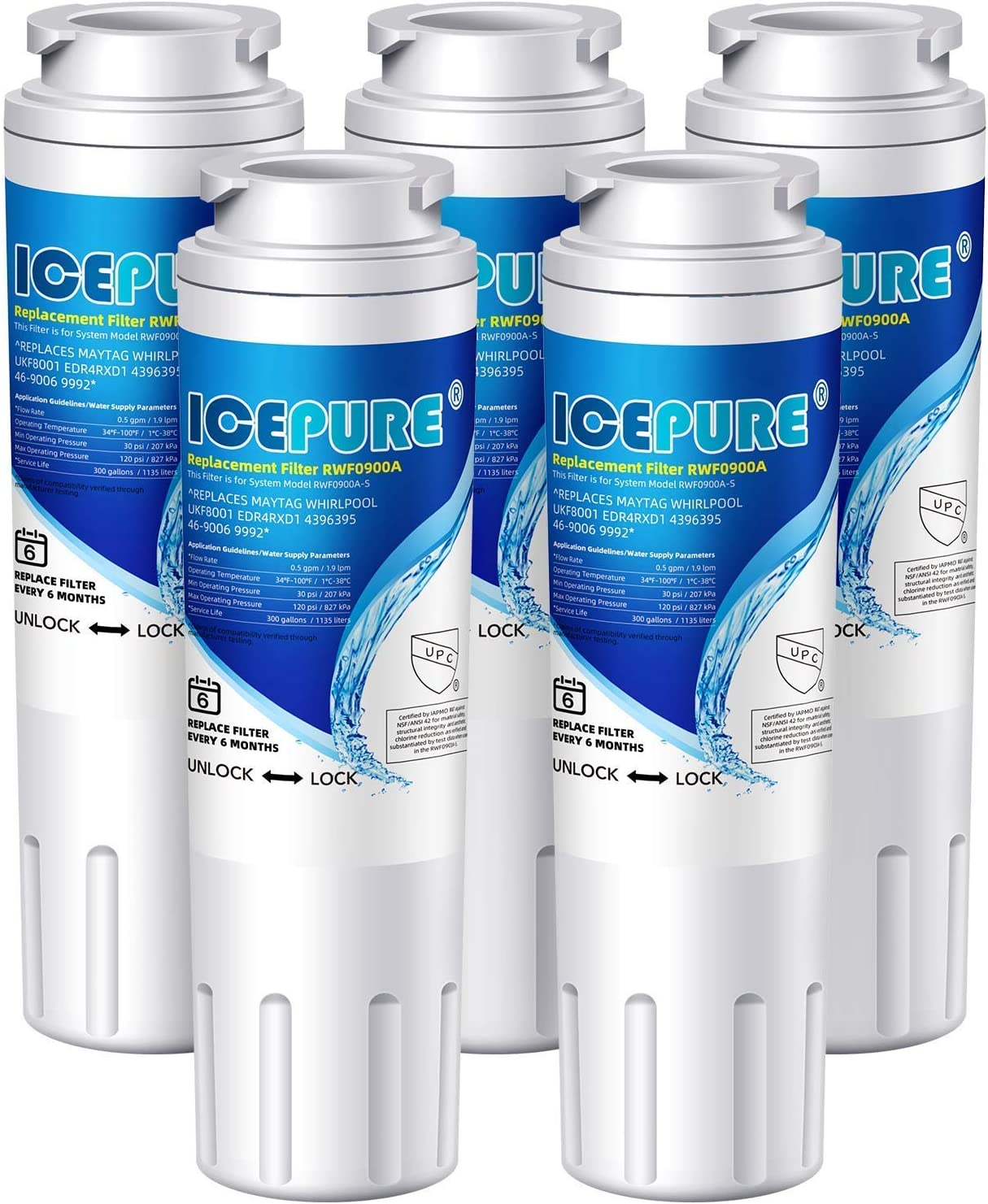 ICEPURE UKF8001 Replacement Refrigerator Water Filter For Maytag UKF8001, UKF8001AXX, Whirlpool 4396395, EDR4RXD1, 469006, EveryDrop Filter 4, RWF0900A, 5PACK