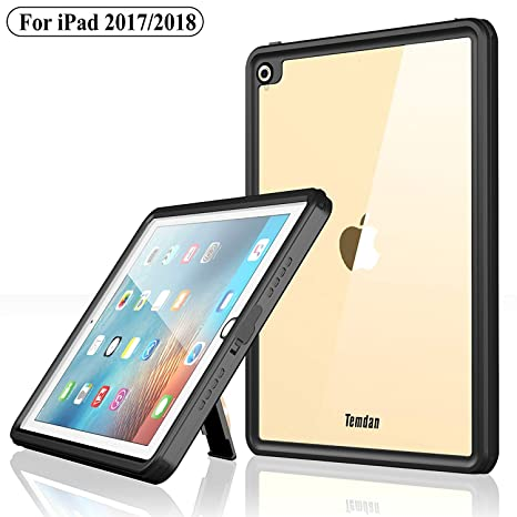 reputable site 3b352 281f6 Temdan iPad 2017/iPad 2018 Waterproof Case Rugged Sleek Transparent Cover  with Built in Screen Protector Waterproof Case for Apple iPad 2017/2018 9.7  ...