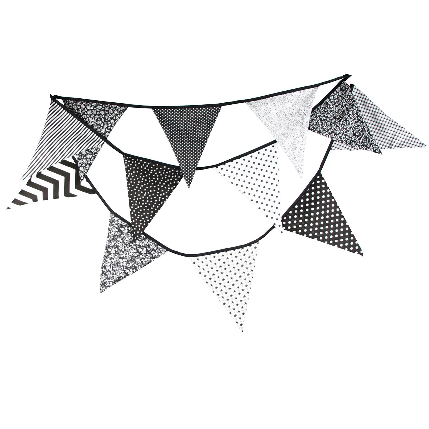 Birthday Party Red /& Brown Outdoor /& Home Decoration INFEI 3.5M//11.5Ft Multicolored Rural Floral Triangle Flags Fabric Banner Bunting Garlands for Wedding