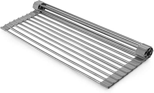 Over the Sink Dish Drying Rack Roll Up Stainless Steel HIGH QUAILITY GREY