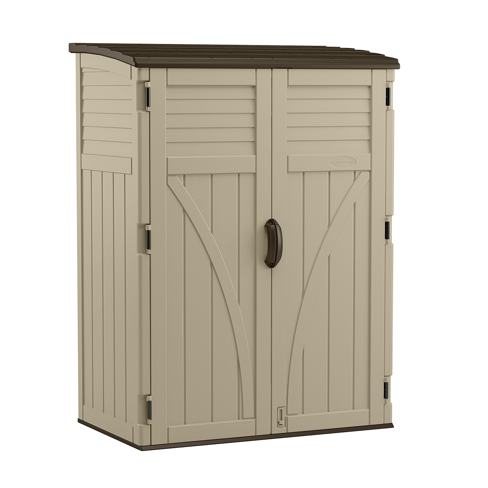 Suncast Vertical Shed - Outdoor Storage Shed for Backyards and Patios - 70 Cubic Feet for Garden Tools and Accessories - Sand by Suncast